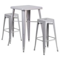 Flash Furniture 3-Piece 27.75-Inch Square Bar Table with Backless Bar Stools Set in Silver