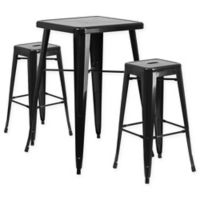 Flash Furniture 3-Piece 27.75-Inch Square Bar Table with Backless Bar Stools Set in Black
