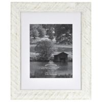 Rustic 8-Inch x 10-Inch Matted Textured Wood Frame in White