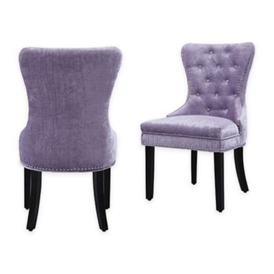 Chic Home Velvet Upholstered Dining Chairs In Purple (Set Of 2)
