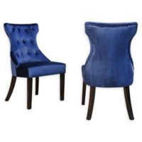 Chic Home Velvet Upholstered Dining Chairs in Navy (Set of 2)