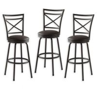 Faux Leather Upholstered Bar Stools in Bronze (Set of 3)