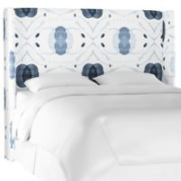 Charlie Twin Linen Wingback Headboard in Blue/White