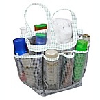 Mesh Shower Tote in Grey/Mint Dot
