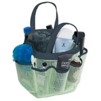 Mesh Shower Tote in Mint/Navy