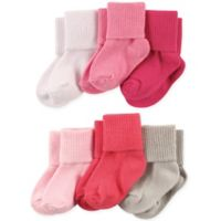 Luvable Friends® Size 0-6M 6-Pack Basic Cuff Socks in Pink/Coral