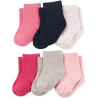 Luvable Friends® Size 12-24M 6-Pack Basic Crew Socks in Pink