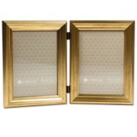 Lawrence Frames Burnished 5-Inch x 7-Inch Double Picture Frame in Gold