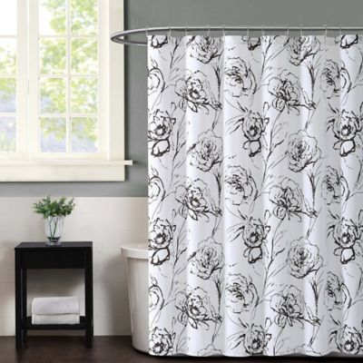 Christian Siriano Graphic Floral Shower Curtain In Black And White