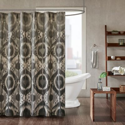 inkivy orissa shower curtain in grey - Retro Curtains