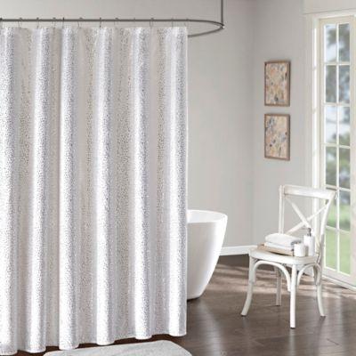 Intelligent Design Adele Shower Curtain in White/Silver
