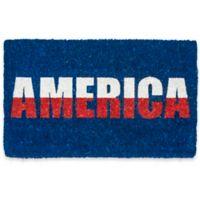"Entryways America 18"" x 30"" Coir Door Mat in Red/White/Blue"