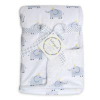 Hello Spud Elephant Plush Baby Blanket in Grey