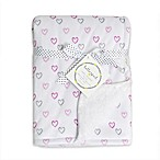 Hello Spud Heart Plush Baby Blanket in Pink