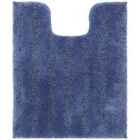 Mohawk Home Basic Stripe Contour Bath Matt in Ensign Blue