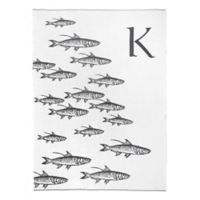 Caskata School of Fish Monogrammed Block Letter Throw Blanket in Grey