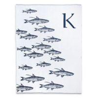 Caskata School of Fish Monogrammed Block Letter Throw Blanket in Navy