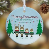 Reindeer Family Character 1-Sided Glossy Christmas Ornament