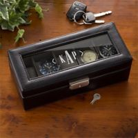 Leather 5 Slot Initial Monogram Watch Box in Black