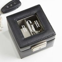 Leather 2 Slot Initial Monogram Watch Box in Black