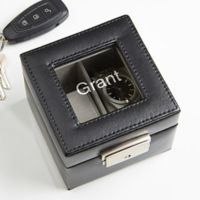 Leather 2 Slot Name Watch Box in Black