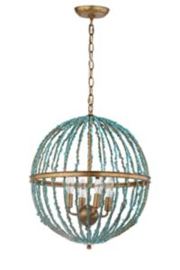 Safavieh Lalita Cage 4-Light LED Chandelier in Gold/Blue