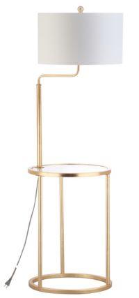 Safavieh Crispin 1-Light Floor Lamp Side Table in Gold