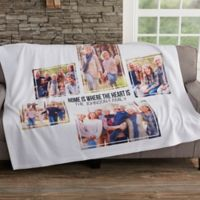 Photo Collage 5 Photo 50-Inch x 60-Inch Sweatshirt Throw Blanket