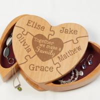Together We Make A Family Wooden Heart Jewelry Box