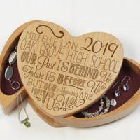 Graduation Memories Wooden Heart Jewelry Box