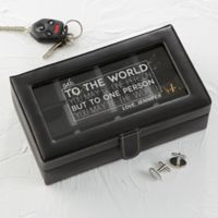 You're My World Leather 12-Slot Accessory Box in Black