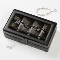 For Her Leather 12-Slot Accessory Box in Black
