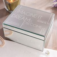Inspiring Messages Large Engraved Mirrored Jewelry Box