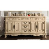James Martin Riviera Marble Top Double Bathroom Vanity with Porcelain Sinks in Parchment