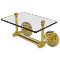 Allied Brass Que New Toilet Paper Holder with Shelf in Polished Brass