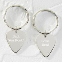 You Rock. Silver Guitar Pick Keychain