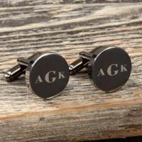 Gunmetal Round Engraved Cufflinks