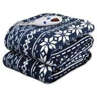 Biddeford® Microplush Digital Heated Throw in White/Navy