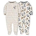 Gerber® Size 6M 2-Pack Organic Cotton Teepee Fox Sleep N' Play Footies in Grey/Ivory