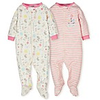 Gerber® Organic Size 9M 2-Pack Cotton Floral Footies in Pink