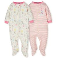 Gerber® Organic Size 6M 2-Pack Cotton Floral Footies in Pink