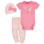 Gerber® Organic Newborn 3-Piece Cotton Bunny Bodysuit, Pants and Hat Set in Coral