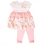 Nannette Baby® Size 0-3M 2-Piece Roses Dress and Legging Set in Peach