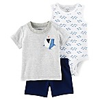 carter's® Newborn 3-Piece Shark Shirt, Sleeveless Bodysuit, and Short Set in Grey
