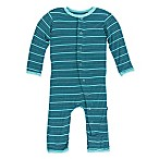 Kickee Pants® Size 0-3M Shining Sea Stripe Coverall in Blue