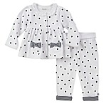 Absorba Size 6-9M 2-Piece Cardigan and Dot Pant Set in White/Navy