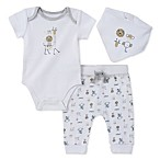 Absorba® Size 3-6M 3-Piece Animal Bodysuit, Pant, and Bib Set in White