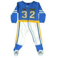 Sozo® Size 24M Football Footed Romper in Blue/White