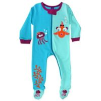 Sozo® Size 6-9M Fish Girls Footed Romper in Blue/Purple
