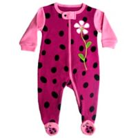 Sozo® Size 24M Girls Night Owl Footed Romper in Pink/Black